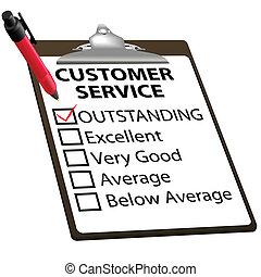 service clientèle, formulaire, remarquable, rapport, évaluation