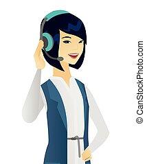service clientèle, jeune, headset., asiatique, opérateur