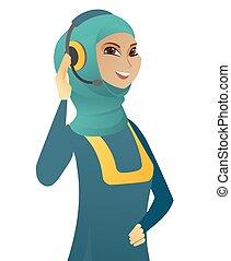 service clientèle, musulman, jeune, headset., opérateur
