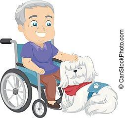 service, fauteuil roulant, chien, illustration, homme aîné