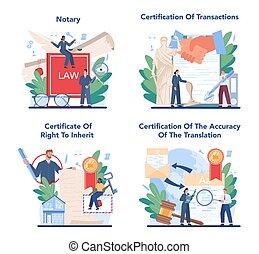 service, signer, avocat, legalizing, concept, set., notary, professionnel