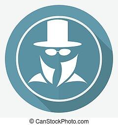service, top secret, long, suit., agent, ombre, homme, icône