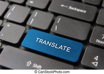 service, traduction, ordinateur portable, concept, clavier