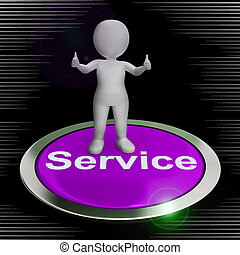 services, concept, service, clients, spectacles, aide, icône, -, conseil, assistance, 3d, illustration, ou