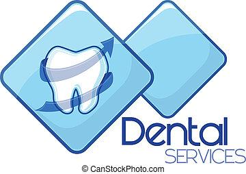 services, dentaire, vecteur, conception, soin