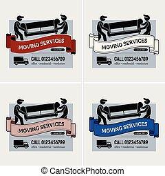 services, logo, compagnie, en mouvement, design.