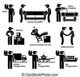 services, maison, déménageur, bureau mobile