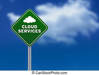 services, nuage, panneaux signalisations