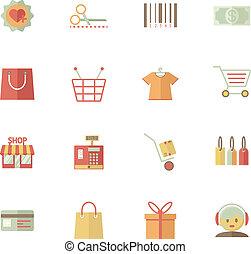 services, supermarché, ensemble, achats, icônes