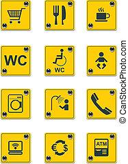 services, vecteur, ic.2, bord route, signes