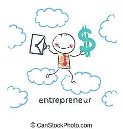 serviette, argent, ciel, entrepreneur, par, va