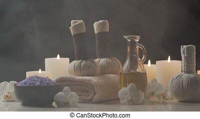 serviette, arrière-plan., bougies, masage, balls., spa, pierres, bien-être, thérapie, oriental, meditation., herbier, fleurs