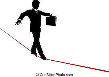 serviette, business, balances, élevé, corde raide, promenades, risqué, homme