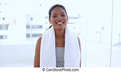 serviette, femme, beau