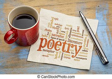 serviette, mot, poésie, nuage