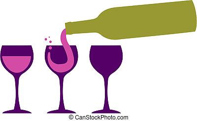 servir, bouteille, verres vin, vin