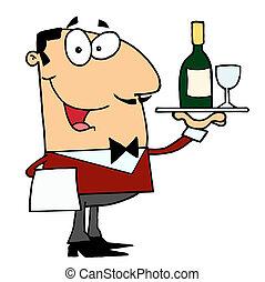 servir, mâle, vin, caucasien, maître d'hôtel
