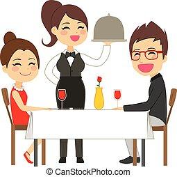 servir, serveuse, restaurant