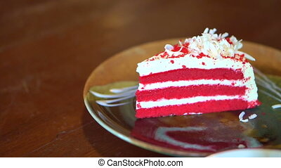 servir, velours, gâteau, plaque, rouges