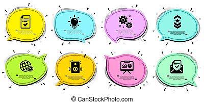 set., ampoule, icônes, vecteur, approuvé, courroie, liste contrôle, épaule, travail, interlocuteurs, lumière, signs., courrier