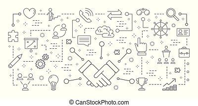 set., collaboration, icônes