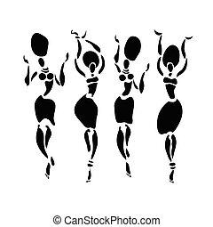 set., danseurs, silhouette, africaine