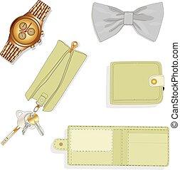 set., hommes, accessoires, illustration.