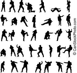set., hommes, -, combat, silhouettes, vecteur