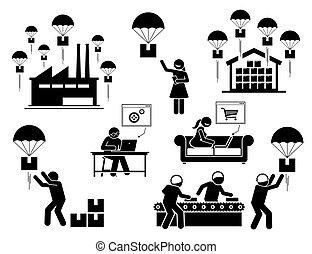 set., icône, business, goutte, modèle, expédition
