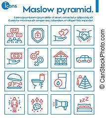 set., icône, hiérarchie, besoins, linéaire, humain, maslow, pyramide, concept., couleur