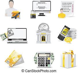set., icône, vecteur, opérations bancaires ligne