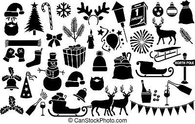 (set), icônes, collection, année, nouveau, noël