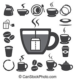 set., illustration, thé, icône, tasse, café