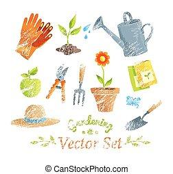set., jardiner matériel, vecteur