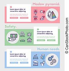 set., linéaire, icône, maslow, humain, hiérarchie, besoins, concept., pyramide, couleur