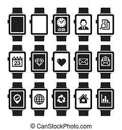 set., montre, intelligent, icône