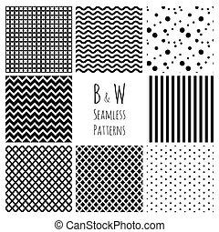 set., seamless, arrière-plan noir, blanc, géométrique