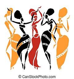 set., silhouette, africaine, danseurs
