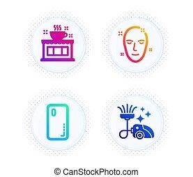 set., smartphone, couverture, figure, nettoyeur, icônes, maison thé, peau, café-restaurant, propre, signe., vecteur, vide, santé, téléphone.