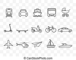 set., transport, design., icônes, illustration, plat, vecteur