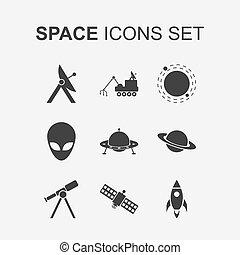 set., vecteur, espace, icônes