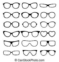 set., vecteur, lunettes