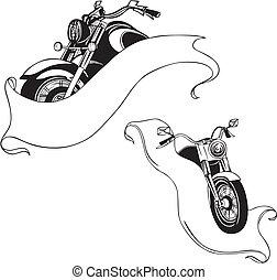set., vecteur, motocyclettes, ribbons.