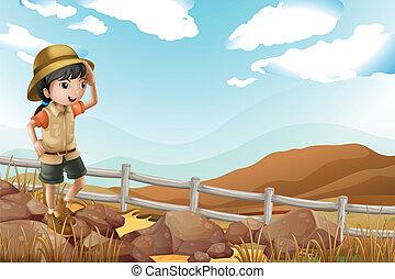 seul, marche, explorateur, femme, jeune