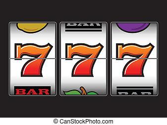 sevens, machine, fentes, chanceux, triple