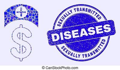 sexuellement, coût, médecine, cachet, bleu, gratté, transmis, maladies, mosaïque