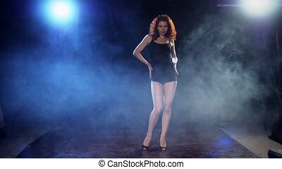 sexy, danseur, jeune, redhaired, bande