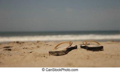 sexy, femme, plage