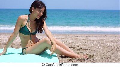 sexy, femme, plage, jeune, séance