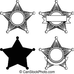shérifs, cinq, pointu, ensemble, étoile